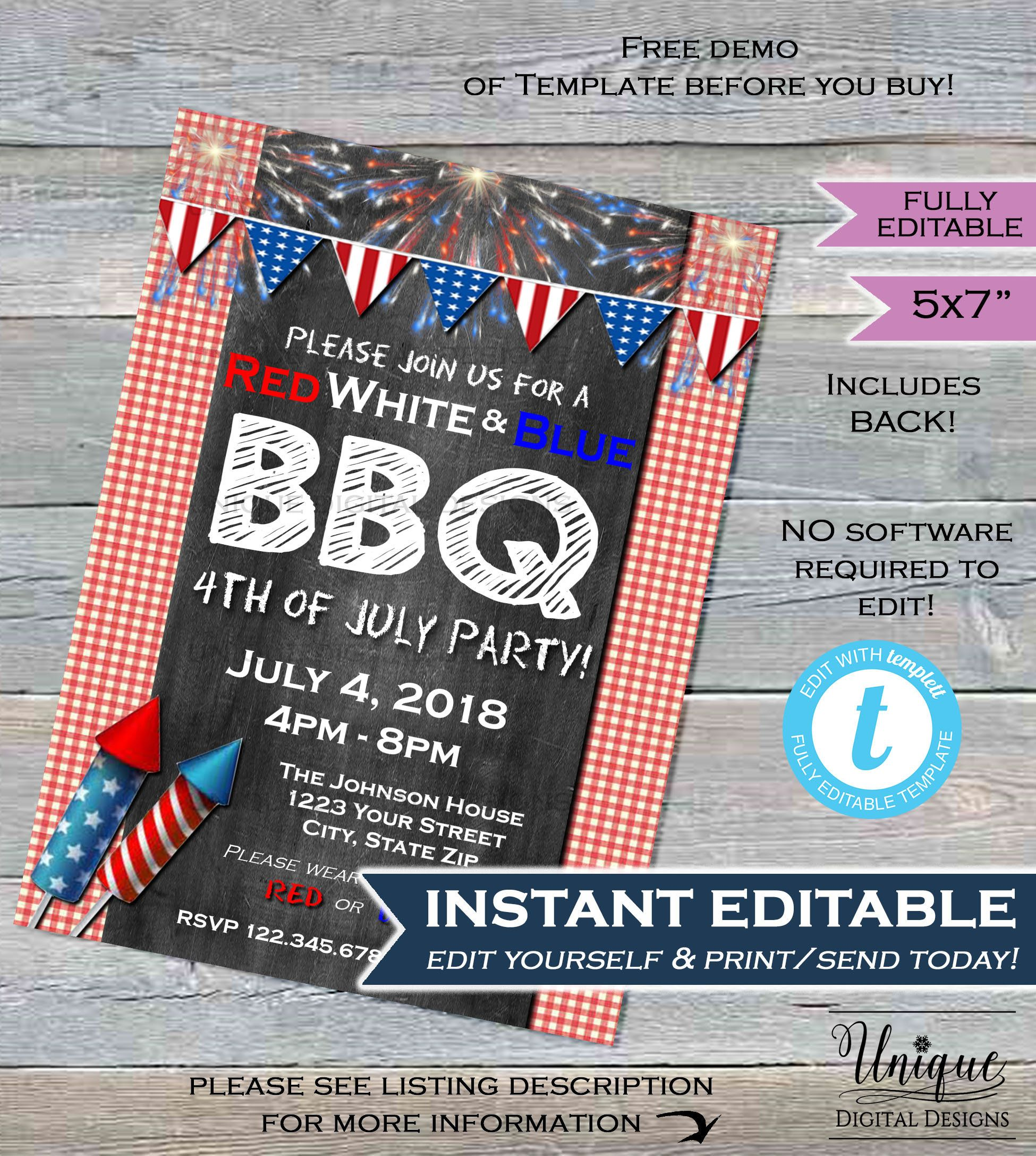 4th Of July Bbq Invitation Editable Red White And Blue Bbq Etsy Block Party Invitations Bbq Invitation 4th Of July