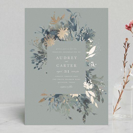Fantasy Foil Pressed Wedding Invitations In Noir By Lori