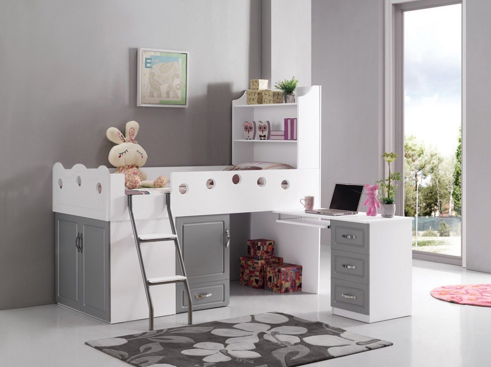 lit combin pour enfant blanc et gris linda nadeau. Black Bedroom Furniture Sets. Home Design Ideas