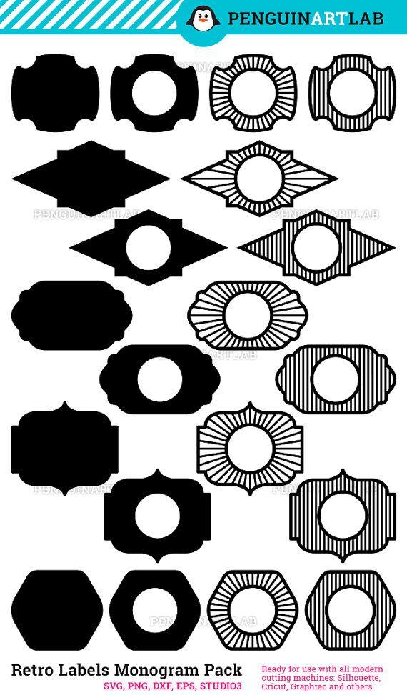 Archivos de corte de chapas Vintage SVG: 20 marcos de monograma ...