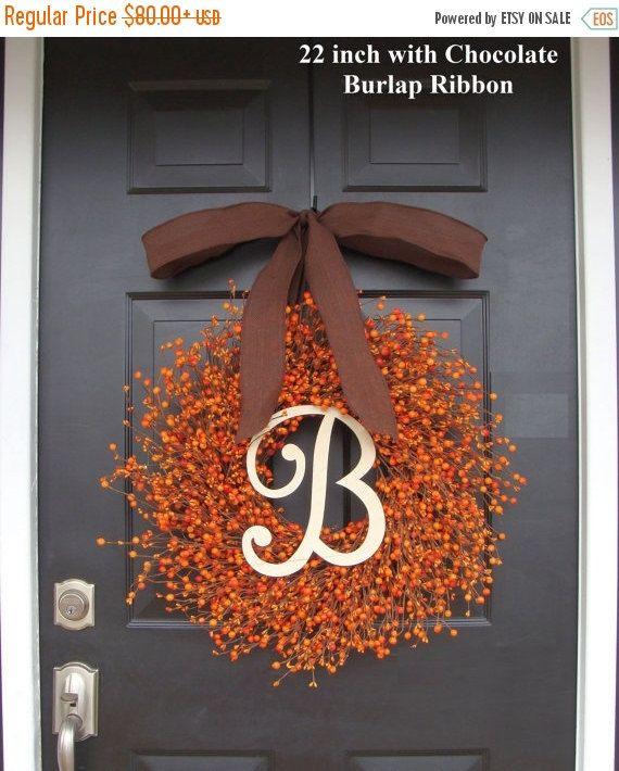 NEW Fall Berry Wreath Thanksgiving Decor Pumpkin Berry Fall Wreath- Hostess Gift – Pumpkin, XXL 19-22 inch Thanksgiving Decor