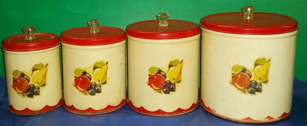 Vintage Mid Century Retro Metal Canister Set Red Lids Fruit Decal Metal Canisters Metal Kitchen Red Canisters