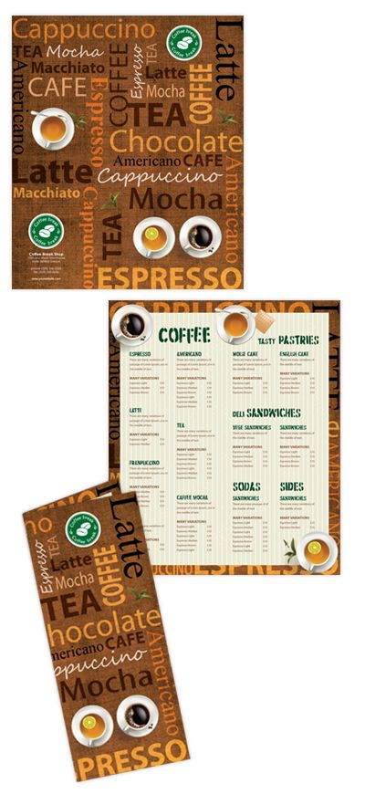Coffee Shop Menu Template  Print Design    Coffee Shop