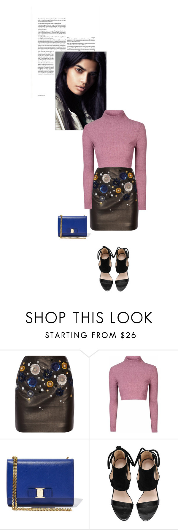 """""""Rose"""" by beautifullylovely ❤ liked on Polyvore featuring Topshop Unique, Glamorous, Salvatore Ferragamo, women's clothing, women's fashion, women, female, woman, misses and juniors"""