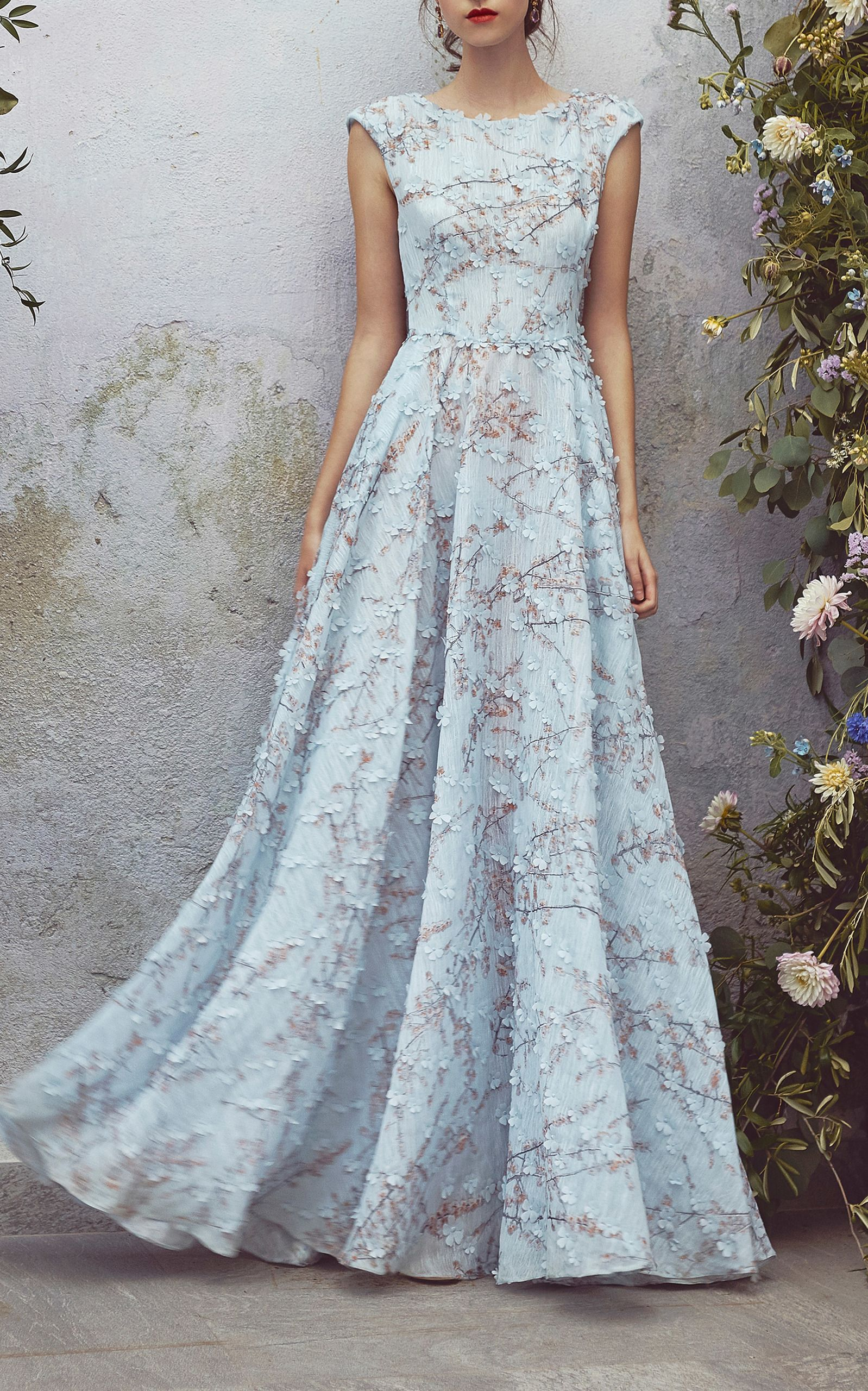 Embroidered Cap Sleeve Dress by LUISA BECCARIA for Preorder on Moda ...