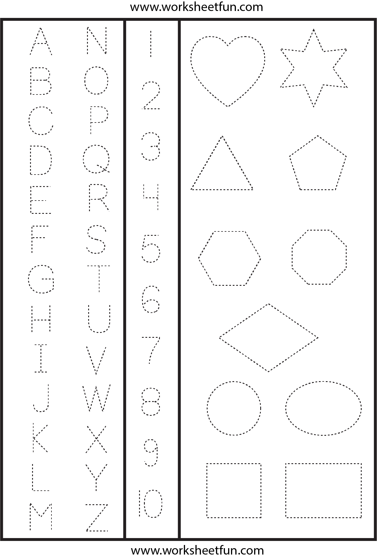 letters numbers shapes tracing worksheet printable worksheets. Black Bedroom Furniture Sets. Home Design Ideas