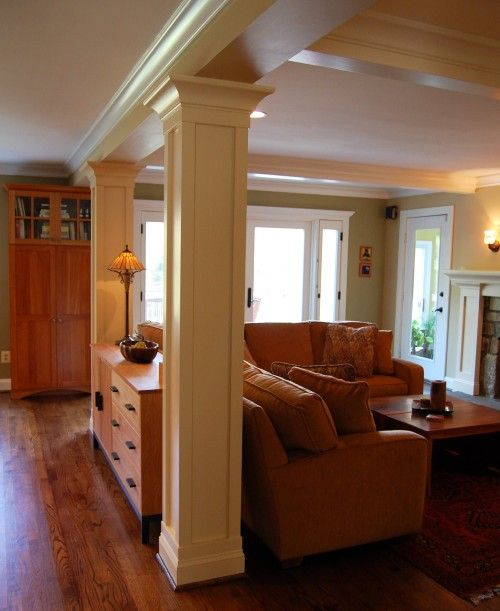 Before And After Of This Beautiful Open Concept Kitchen: May Have To Use Columns Like This Between Fam Room And