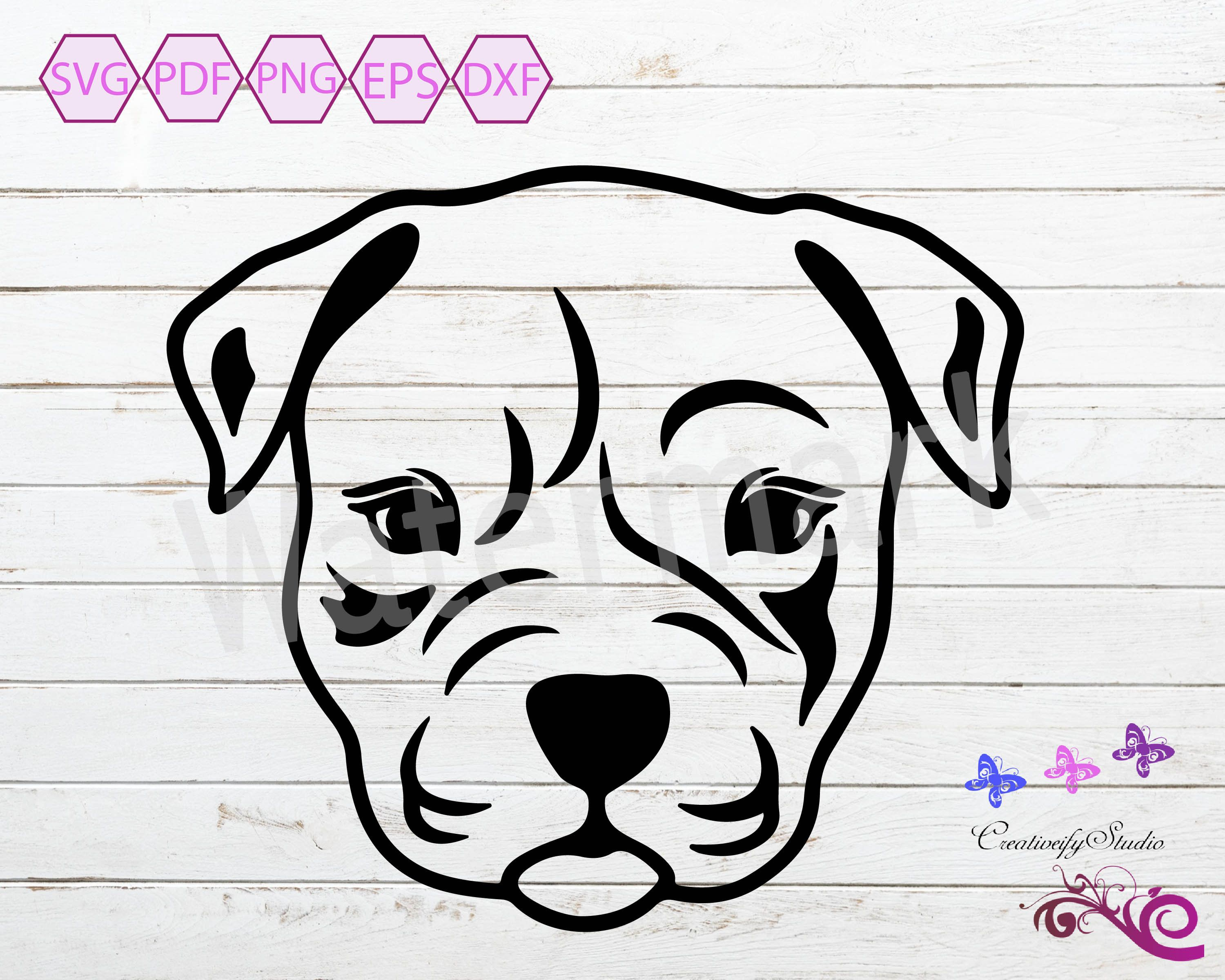 Download Pitbull SVG Silhouette Clipart, Dog Head, Dog Lover, Dog ...