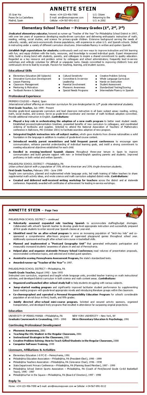 teacher resume Elementary School Teacher Sample Resume jobs - school teacher resume sample