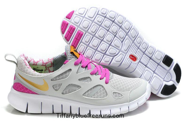 7238045147c2 White Grey Pink Gold Nike Free Runs 2 Girls
