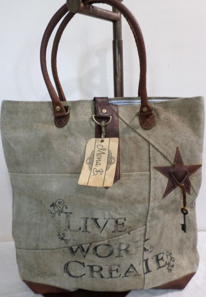 mona b live work create canvas bag tote recycled carry all new