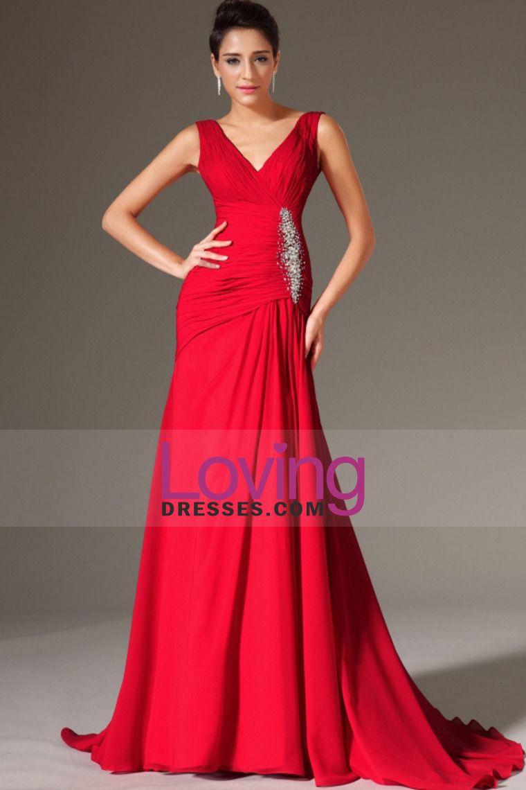 2014 V Neck plissada corpete Coluna Trem da varredura Prom Dress com Miçangas