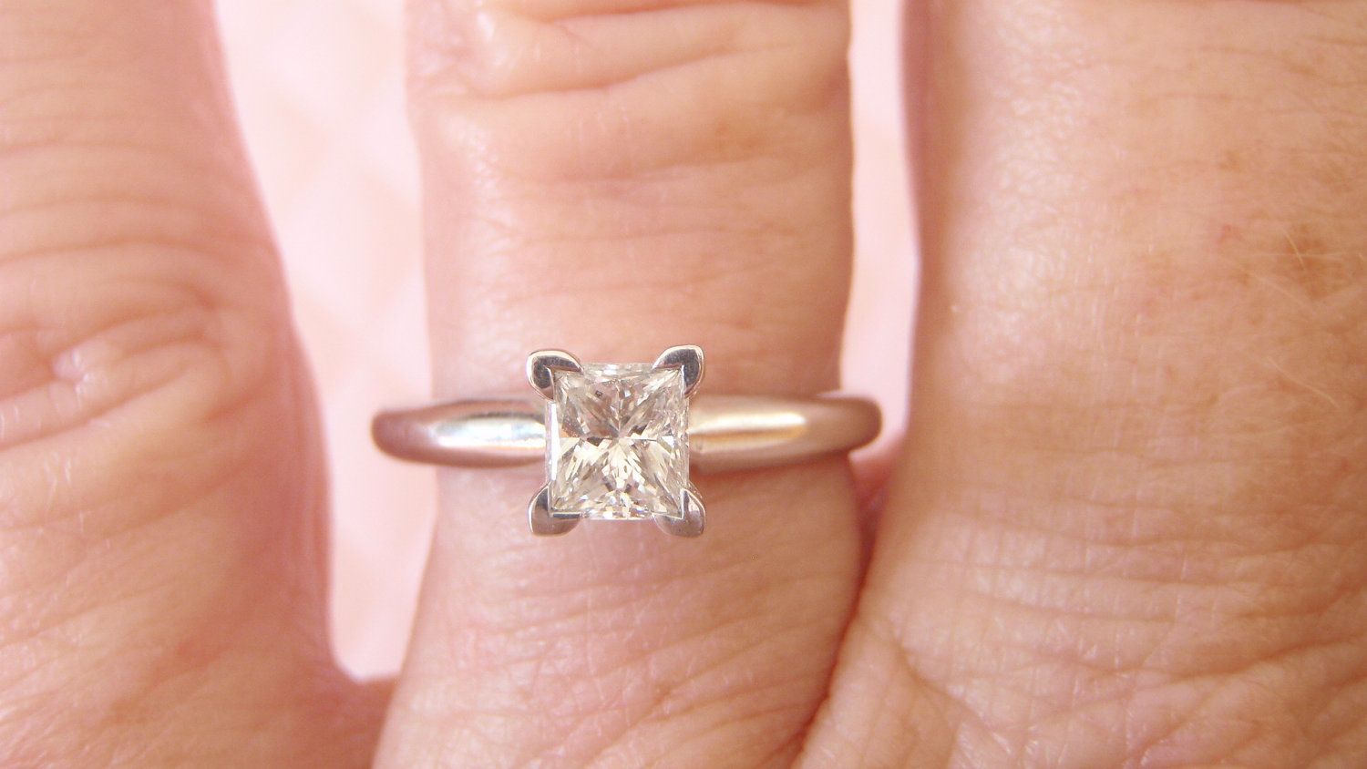 Diamond Engagement Ring. Princess Cut Solitaire. White Gold. Elegant ...