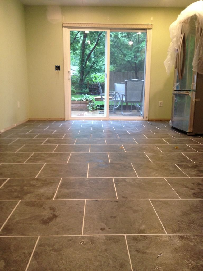 Armstrong Mesa Stone In Charcoal With Mist Grout Kitchen
