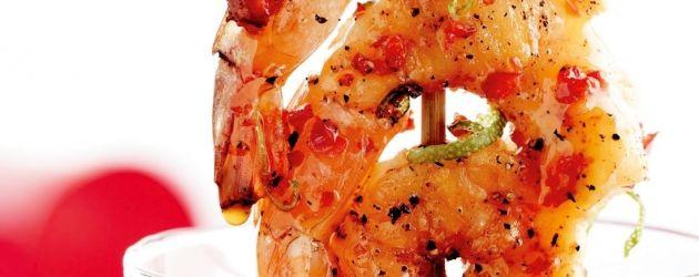 Grillspyd med reker og chili-limeolje