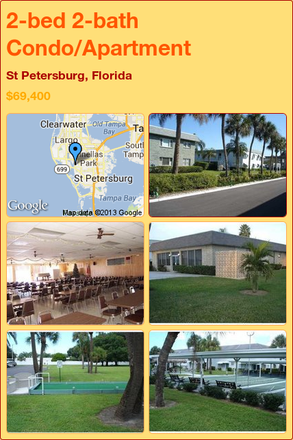 2-bed 2-bath Condo/Apartment in St Petersburg, Florida ►$69,400 #PropertyForSale #RealEstate #Florida http://florida-magic.com/properties/8260-condo-apartment-for-sale-in-st-petersburg-florida-with-2-bedroom-2-bathroom