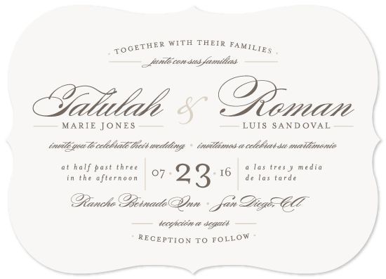 Bilingual Wedding Invitation An Elegant And Timeless Featuring A Layout Suited For Multiple