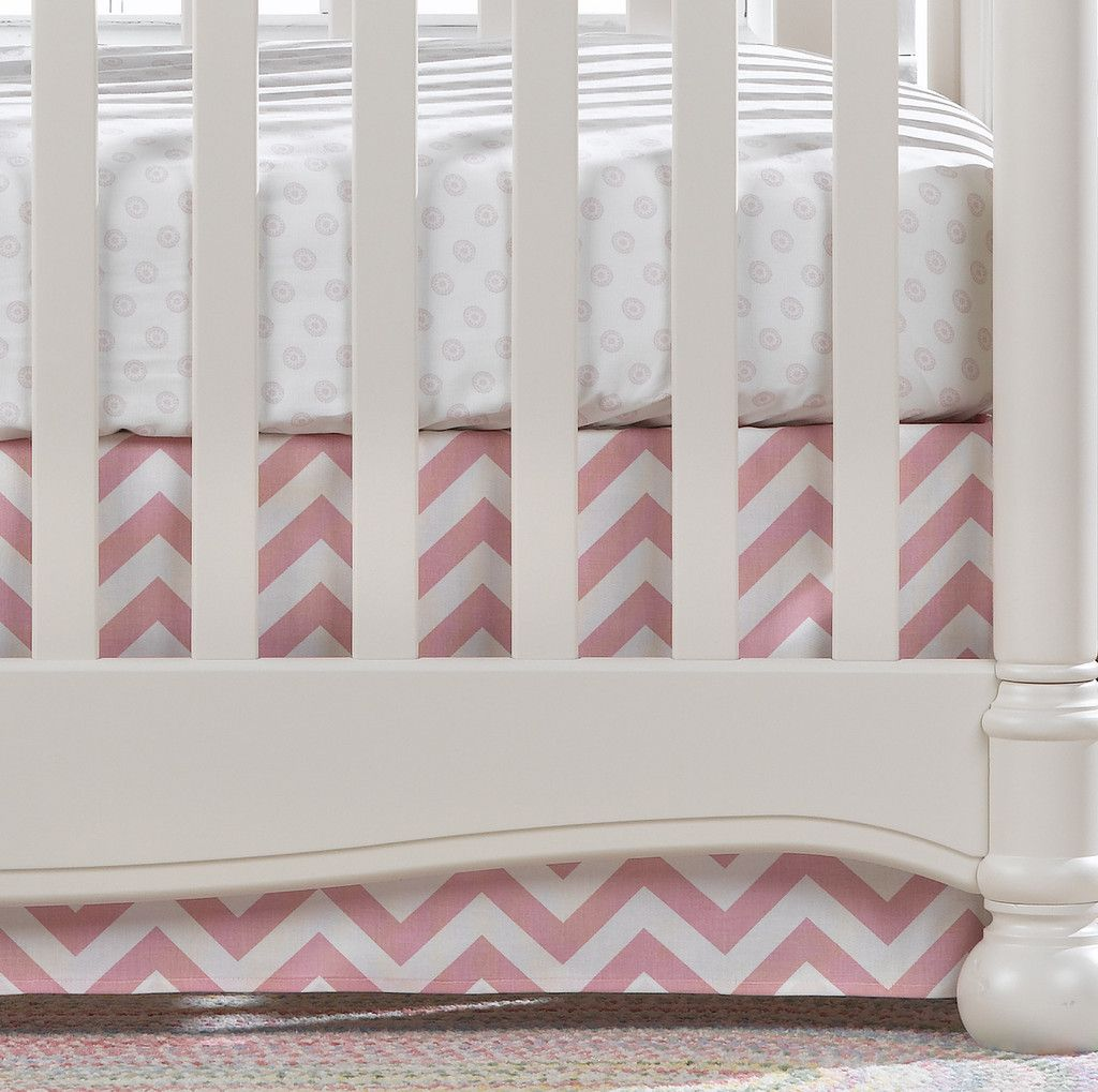 """Pink Chevron Crib Skirt 17"""" Drop   Liz and Roo Fine Baby Bedding. Pretty pink chevron crib skirt for your little baby girl paired with a pink chelsea crib sheet."""