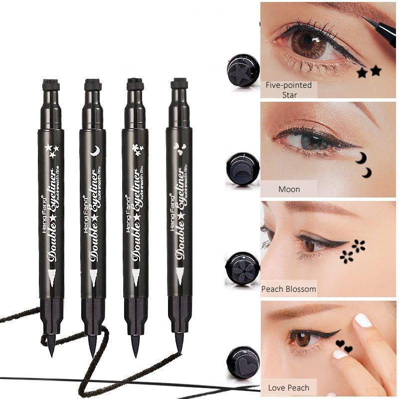Brand Waterproof Black Eyeliner Pen With Moon Heart Star Stamp Eyes Makeup Liquid Eye Liner Pencil Seal Long-lasting Cosmetics Beauty Essentials