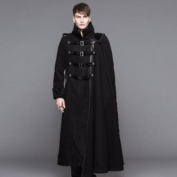 Men's Black Coat Detachable Side Cape - Tailcoat, Trench, Medieval, Renaissance, Gothic, Festival La