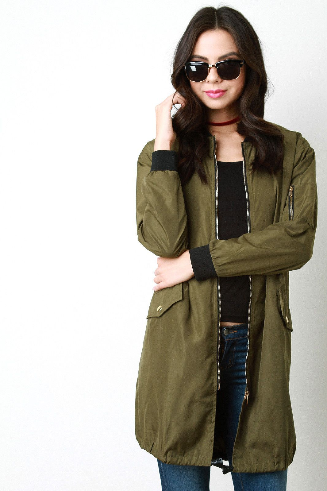 Contrast trim long bomber jacket products pinterest long