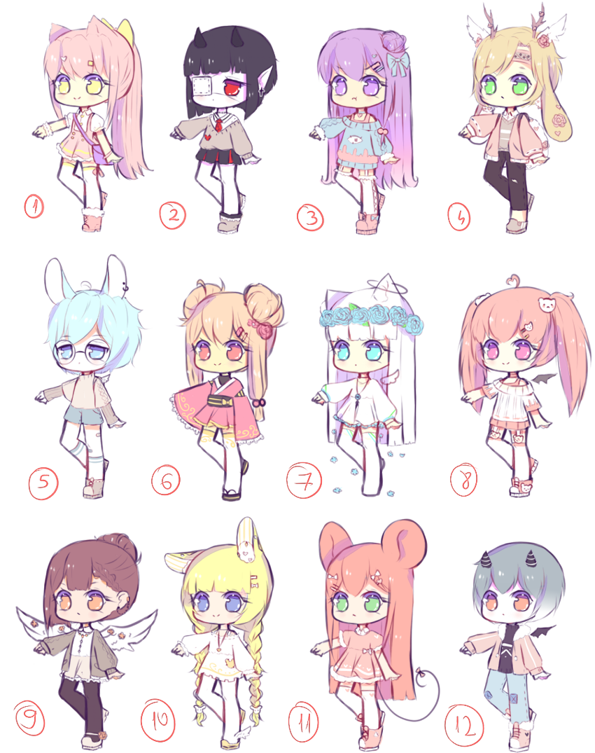[OPEN 1/12] Random Adoptables batch 2 by Seraphychan