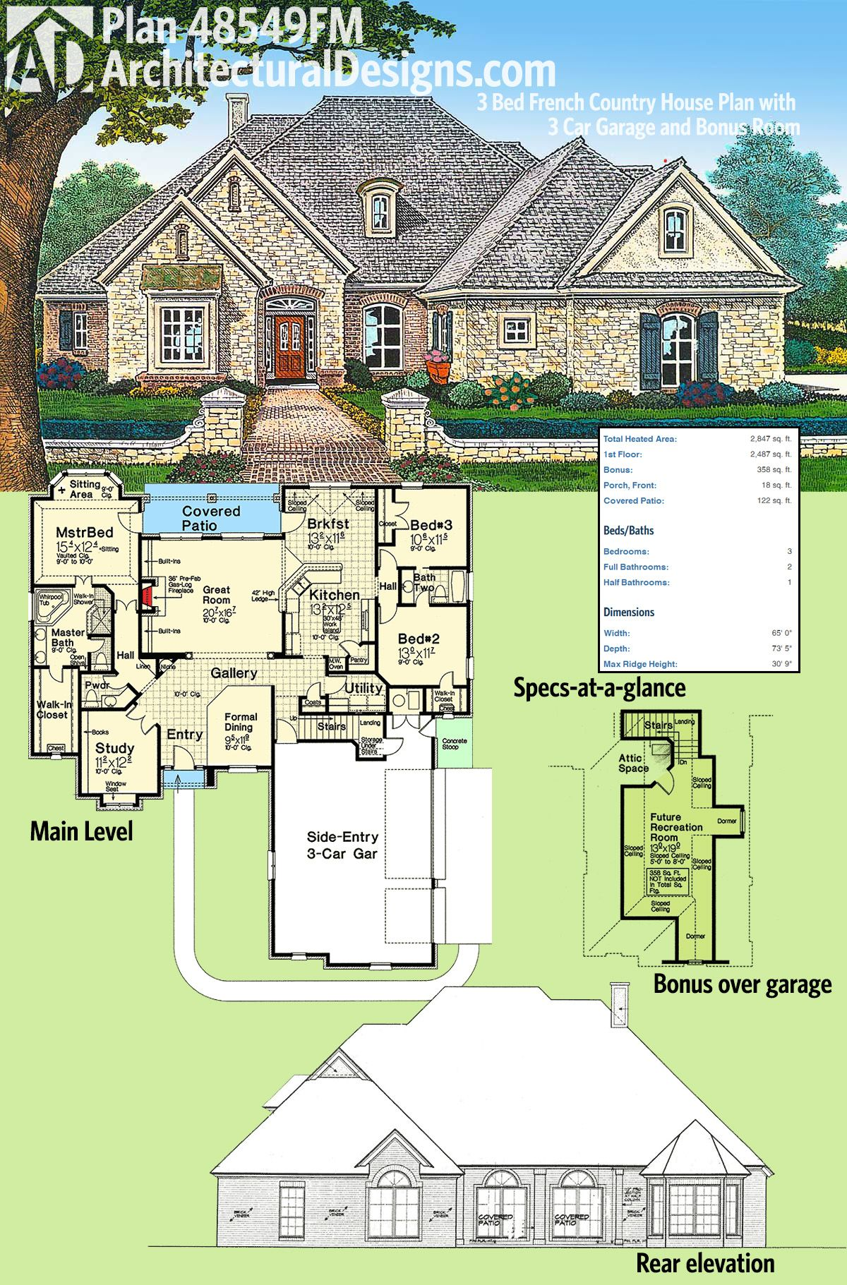 Plan 48549fm 3 bed french country house plan with 3 car for Side load garage house plans