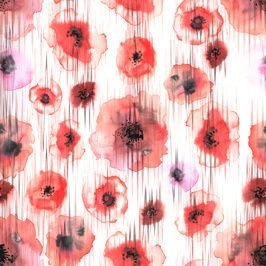 Poppy Flowers /Watercolor Hand Painted Big Scale/