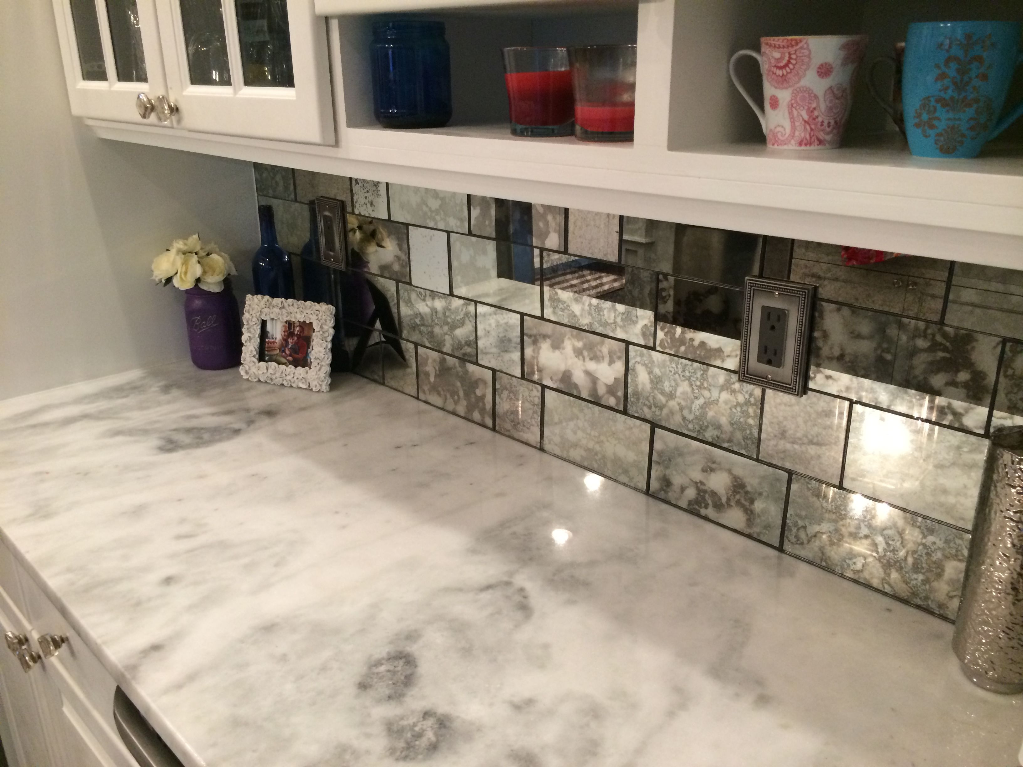 bonitaglassshoppe antique mirror backsplash was installed ...