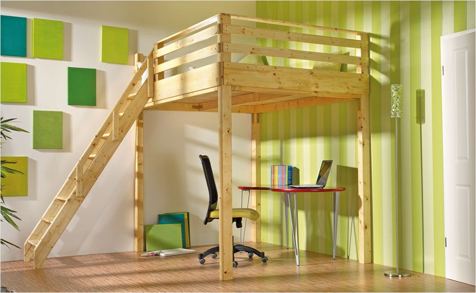 hochbett selber bauen anleitung von hornbach bett pinterest hochbett bett und hochbett. Black Bedroom Furniture Sets. Home Design Ideas