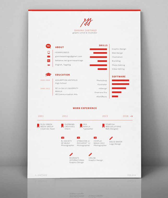 Gianina Santiago Minimalist Resume Graphic Design Resume