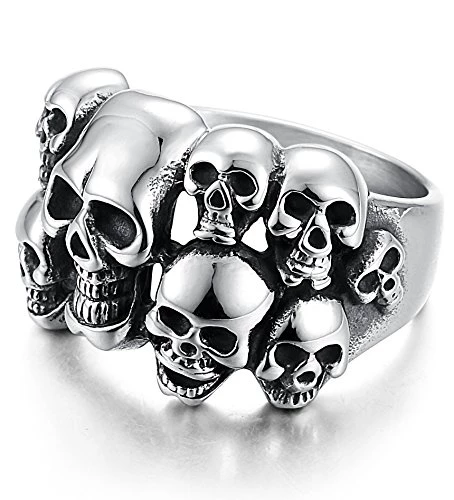 Stainless Steel Rings for Men Women Multi Skull Head Rings,Size 8-14 - InnovatoDesign