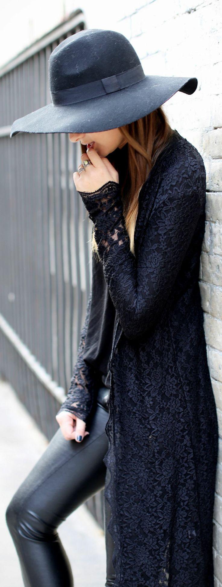 Leather pants lace coat with black hat
