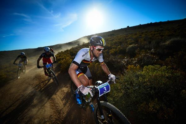 Karl Platt of Team Bulls leads the front group down a descent at the 2016 Fairview Attakwas Extreme Mountain Bike Challenge in South Africa on Saturday. Photo: www.zooncronje.com