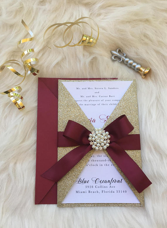 Burgundy And Gold Wedding Invitation| Red and Gold