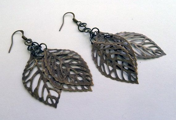 Trio of leaves Earring by ArtBoxCreations on Etsy, $4.00