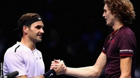 "Roger Federer has now won three of his five matches against Alexander Zverev  ATP Finals  Venue: The 02 Arena London Dates: 12-19 November  Coverage:  Watch live on BBC Two Red Button BBC Sport website and mobile app  listen on BBC Radio 5 live sports extra and follow text updates online.  Six-time  champion Roger Federer was ""happy and relieved"" to see off the  challenge of 20-year-old Alexander Zverev and reach the last four at the  season-ending ATP Finals in London.  Federer 36 proved the stronger in the final set winning 7-6 (8-6) 5-7 6-1. Germany's Zverev seeded third can still qualify for the semi-finals on his debut appearance at the O2 Arena. He will play American Jack Sock in his final group match on Thursday with the winner to progress to the last four.  Latest scores and results  ATP Finals - BBC TV and radio coverage  Eighth  seed Sock earlier beat Croat fifth seed Marin Cilic 5-7 6-2 7-6 (7-4)  in the second round of matches in the Boris Becker Group. ""That was a tough one for sure"" said Sock. ""It's  been an interesting morning so far the fire alarm went off at 4am and  we had to exit the building. But I love playing here in London it's an  amazing atmosphere you make me feel like [I'm] home. In the Pete Sampras Group on Wednesday Grigor Dimitrov will play  David Goffin at 14:00 GMT followed by Dominic Thiem against Pablo  Carreno Busta who replaces the injured Rafael Nadal at 20:00. Jamie Murray and Brazil's Bruno Soares take on Marcel Granollers and Ivan Dodig in their second doubles group match at 18:00.  'To be through in two matches is great'  Federer  made it through to the semi-finals for a remarkable 14th time at the  season finale but was pushed hard for two sets by the leading light of  the new generation. Zverev showed his class with some brilliant  serving in the first set making 76% of his first serves but it was  still not enough. The German had three chances to break in the  opening game and would later lead 4-0 in the tie-break before a rash of  forehand errors allowed Federer to come back and take it.Federer is trying to win the ATP title for the first time since 2011An  early break of serve in the second set looked to have the Swiss in  complete control but from 2-0 30-0 he surprisingly hit successive  double-faults and lost his way for the next few games. Clearly  rattled by his wavering form and increasingly confident rival Federer  eventually cracked in the 12th game to send a forehand wide and give up  the set. The adrenaline was coursing through Zverev but the  effects had worn off three games later when a tired double fault opened  the door for Federer to get the key break celebrating with a loud  ""Come on!"" Four errors in succession saw Zverev hand over the  double break and it became three in a row when the German double-faulted  on match point after two hours and 13 minutes. Federer can now  look forward to a final group game against Cilic knowing there is only  pride and the wish to maintain his winning run on the line ahead of  Saturday's semi-finals. ""I'm excited for Alex's future. He's a wonderful guy and a great great player"" said Federer. ""I'm  happy and relieved that I can play freely against Cilic instead of it  being a nail-biter. It's been a tough group so to be through in two  matches is great."""