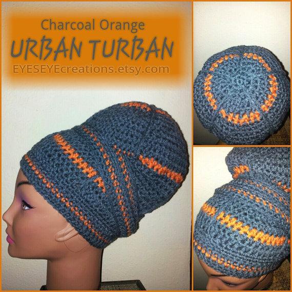 Charcoal Orange URBAN TURBAN - Crocheted Head-wrap - Made To Order ...