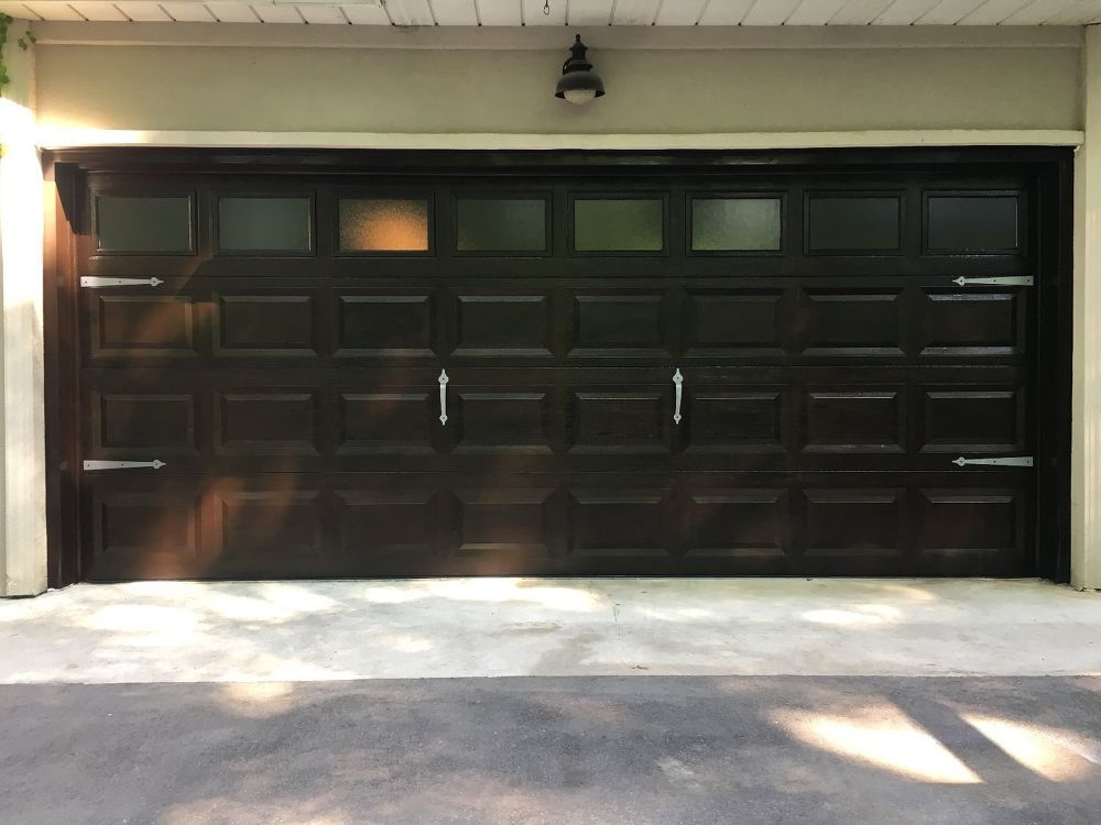 Garage Door Diy Makeover White Fiberglass To Wood Garage Diy Garage Door Garage Doors Diy Door