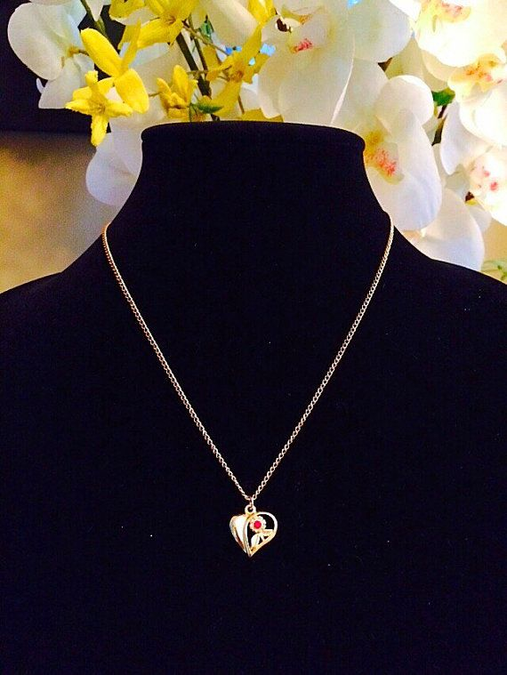 Vintage Avon Heart Necklace Gold Heart Necklace Signed Avon Jewelry