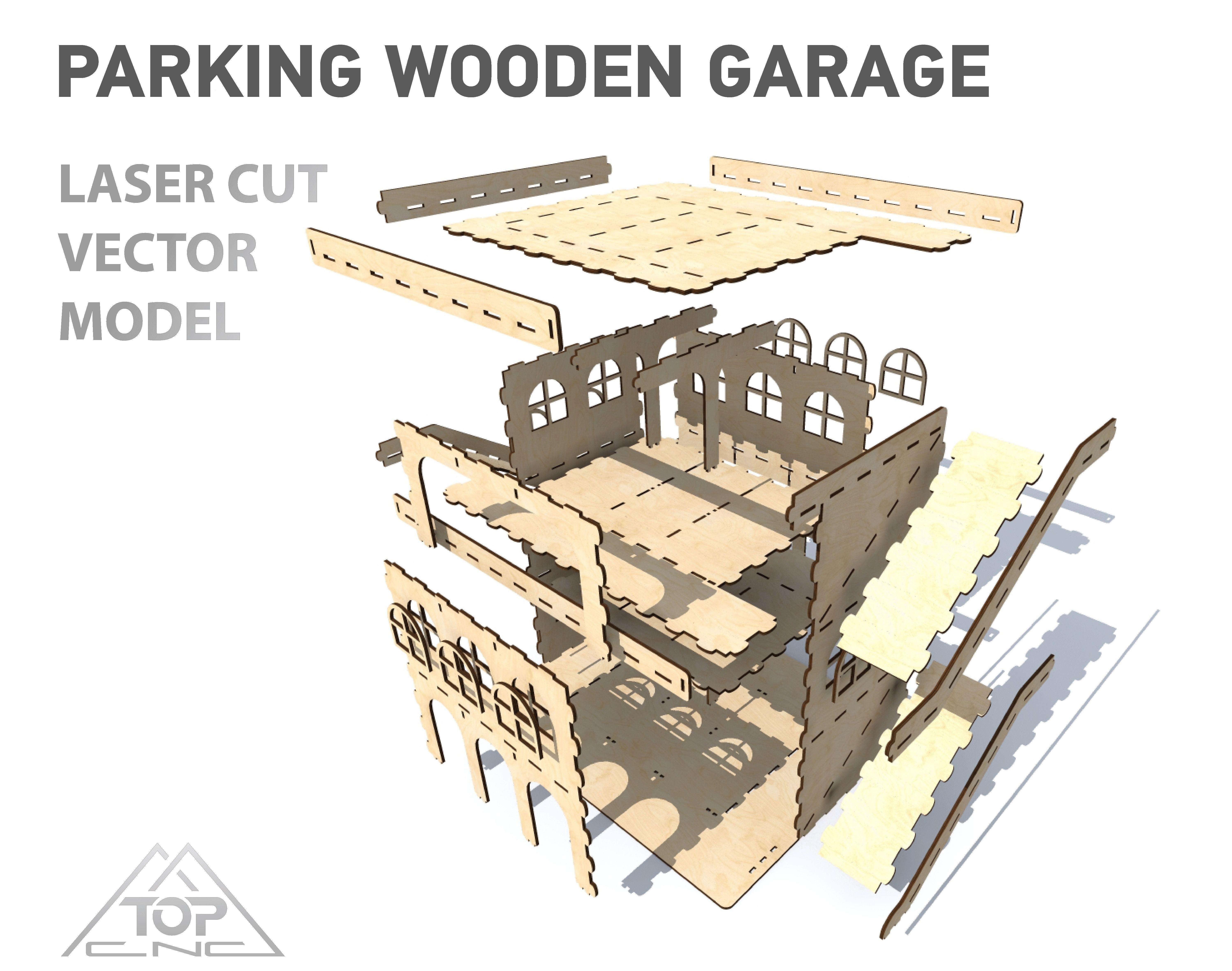 Parking vector model large wooden garage model laser cut DXF CDR EPS AI SVG