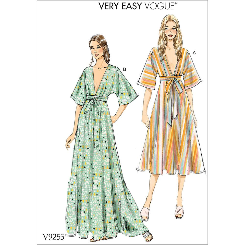 Misses Deep-V Kimono-Style Dresses with Self Tie Vogue Sewing ...