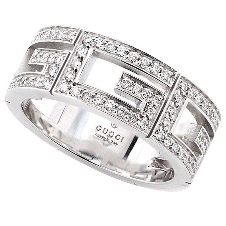 Trendy GUCCI White Gold Diamond G Ring
