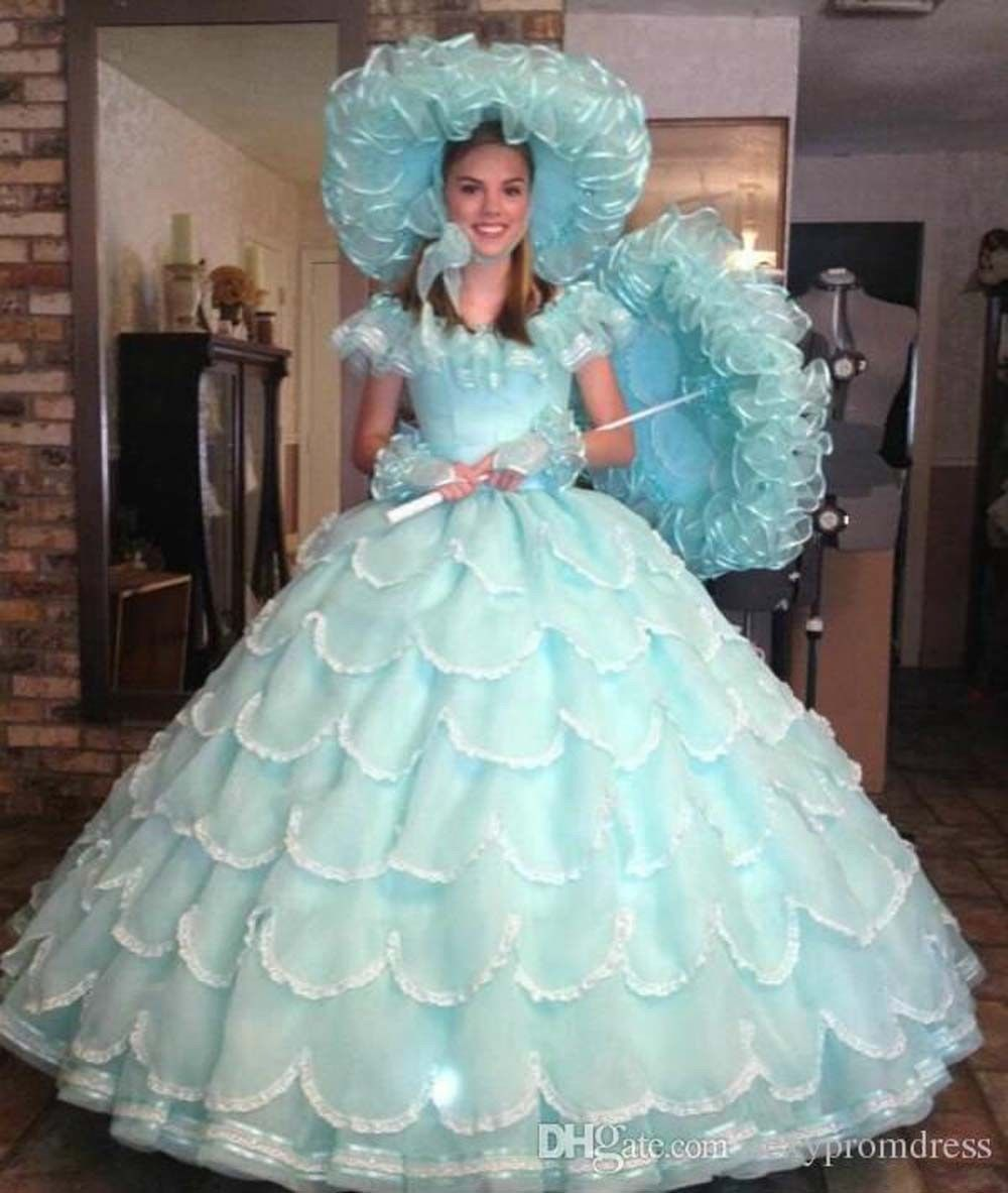 Vintage ball gown quinceanera dress tiered girls party pageant