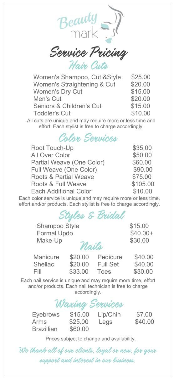 Salon Service Menu W Diff Haircut Options Hairstyles In 2018