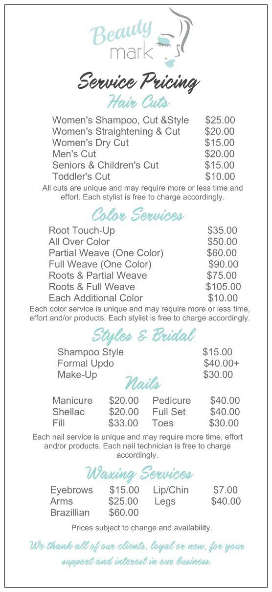 salon service menu w   diff  haircut options  u2026