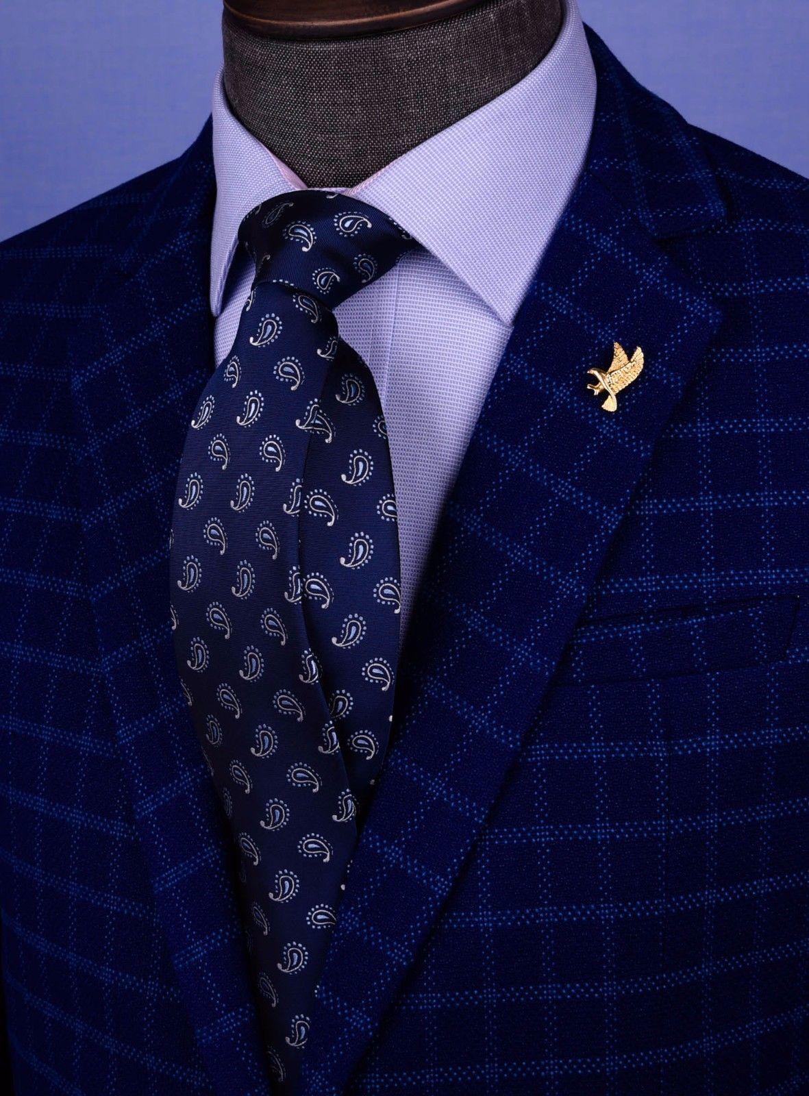 Krawatten & Fliegen Navy Blue & White Italian Paisley Designer Tie 8cm Necktie Florentine Accessory Herren-Accessoires
