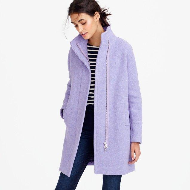 Stadium-cloth cocoon coat : Women wool | J.Crew. French purple ...