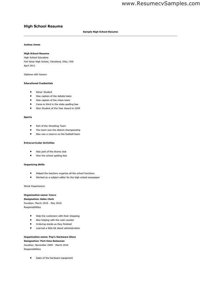 Resume Example For High School Student Sample Resumes - Http://Www