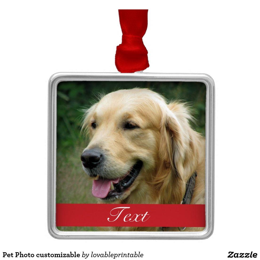 Pet Photo customizable Square Metal Christmas Ornament